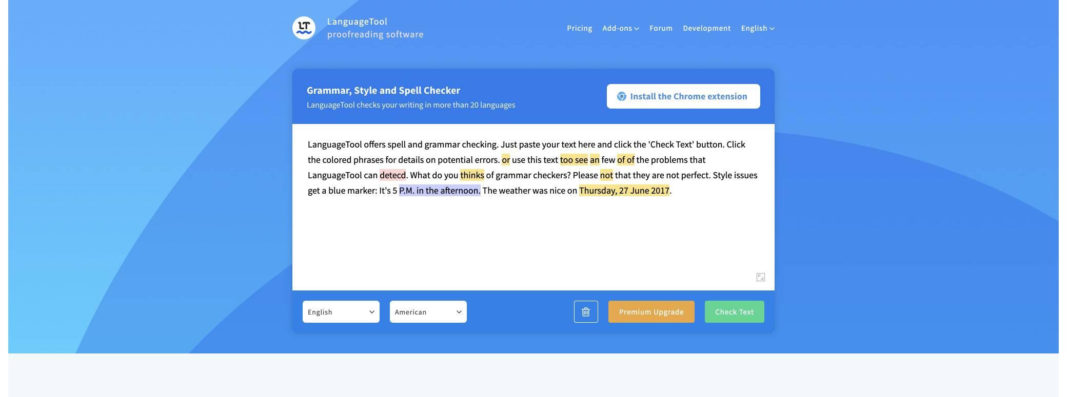 language-tool screenshot