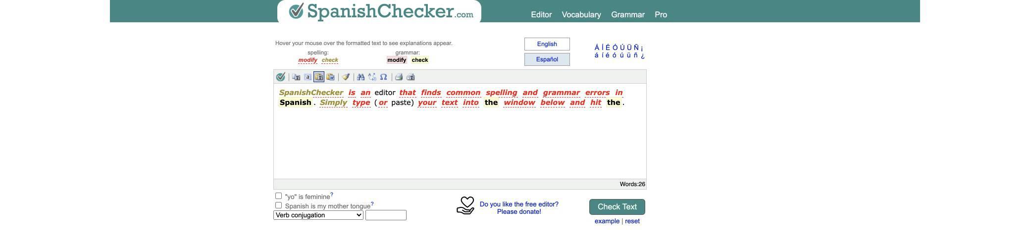 spanish-checker screenshot