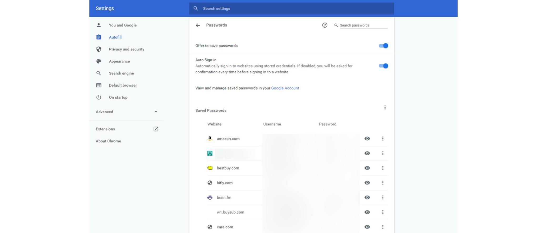 google-password screenshot