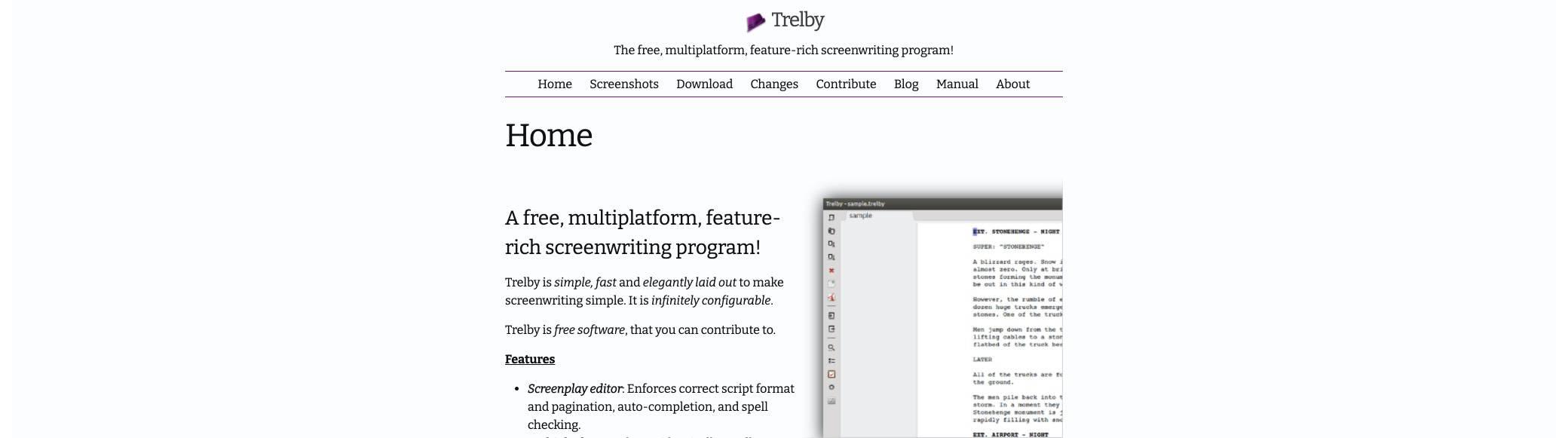 trelby screenshot