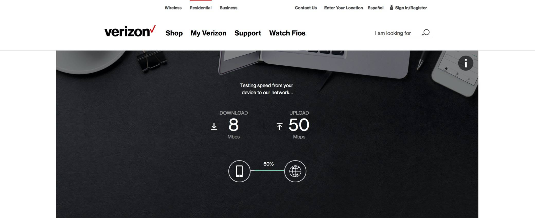 verizon speed test screenshot