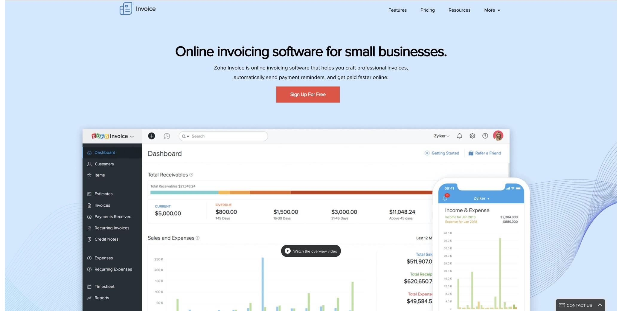 zoho-invoice screenshot