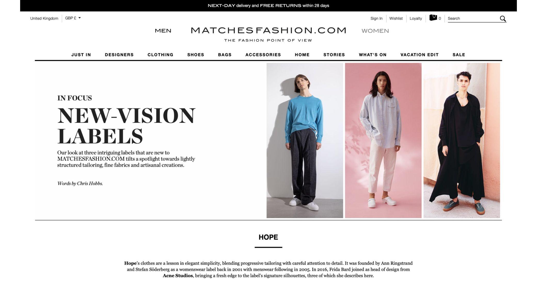 matchesfashion screenshot